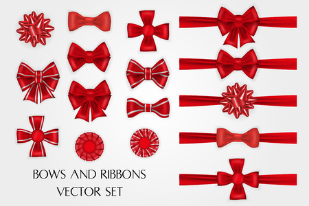 Realistic red silk bows and ribbons vector set Çizim