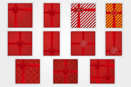 Gift boxes top view set, isolated white background. Red ribbons bow on red giftbox. Decoration element for design
