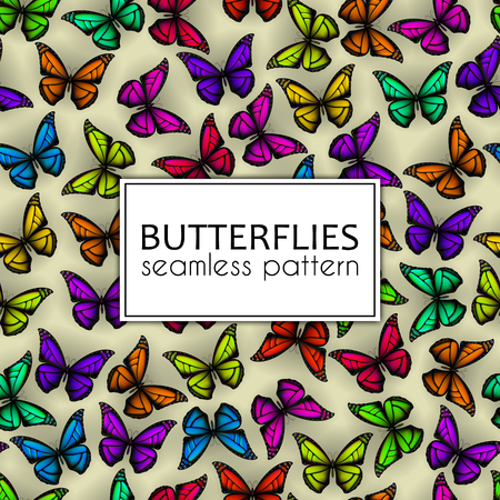 Colorful realistic butterflies seamless pattern. Vector illustration design Çizim