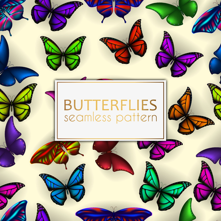 Colorful realistic butterflies seamless pattern. Vector illustration design Stok Fotoğraf - 105090824
