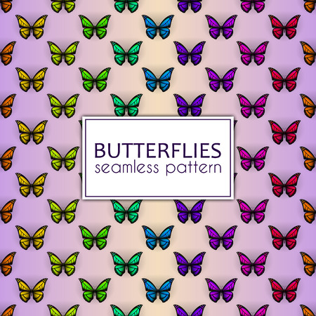 Colorful realistic butterflies seamless pattern. Vector illustration design 向量圖像