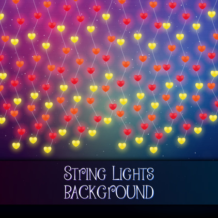 Dark background with decorative string lights. Bright shining light bulbs garlands 版權商用圖片 - 114806847