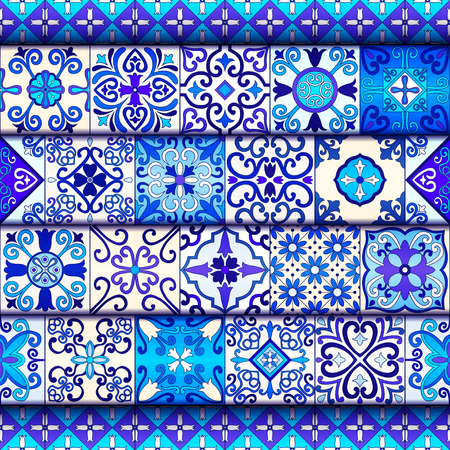 Portuguese tiles seamless pattern vector with blue and white ornaments. Talavera, azulejo, mexican, spanish or arabic motifs