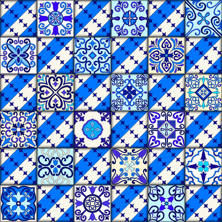 Portuguese tiles seamless pattern vector with blue and white ornaments. Talavera, azulejo, mexican, spanish or arabic motifs 版權商用圖片 - 114806850