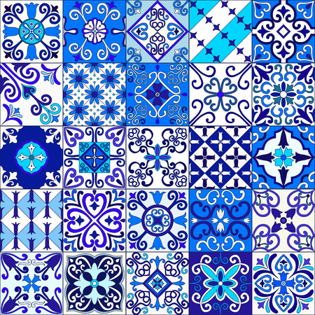 Portuguese tiles seamless pattern vector with blue and white ornaments. Talavera, azulejo, mexican, spanish or arabic motifs Stok Fotoğraf - 114806851