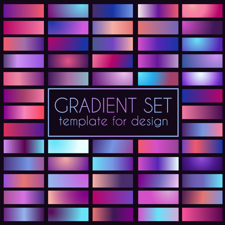 Multicolored bright gradient set. Template for design 向量圖像
