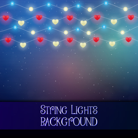 Dark background with decorative string lights. Bright shining light bulbs garlands