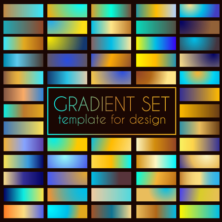 Multicolored bright gradient set. Template for design Çizim