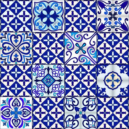Portuguese tiles seamless pattern vector with blue and white ornaments. Talavera, azulejo, mexican, spanish or arabic motifs 版權商用圖片 - 114806861