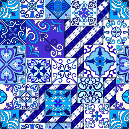 Portuguese tiles seamless pattern vector with blue and white ornaments. Talavera, azulejo, mexican, spanish or arabic motifs 版權商用圖片 - 114806862