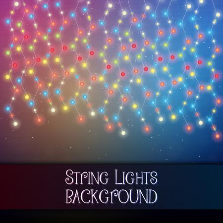 Dark background with decorative string lights. Bright shining light bulbs garlands