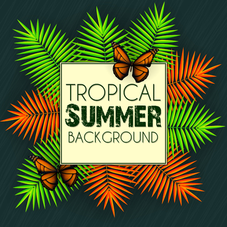 Tropical summer background with exotic neon bright colorful leaves with text space Stok Fotoğraf - 105794901