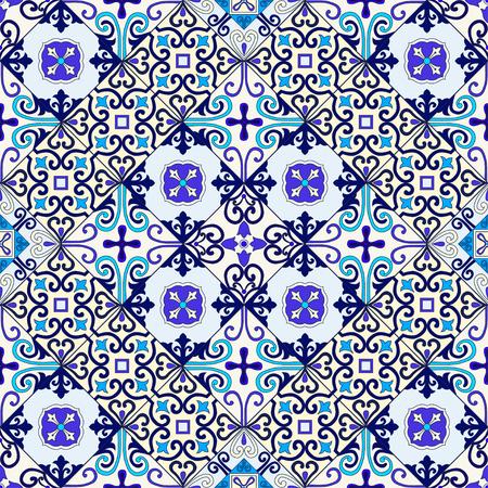 Portuguese tiles seamless pattern vector with blue and white ornaments. Talavera, azulejo, mexican, spanish or arabic motifs 版權商用圖片 - 114806869