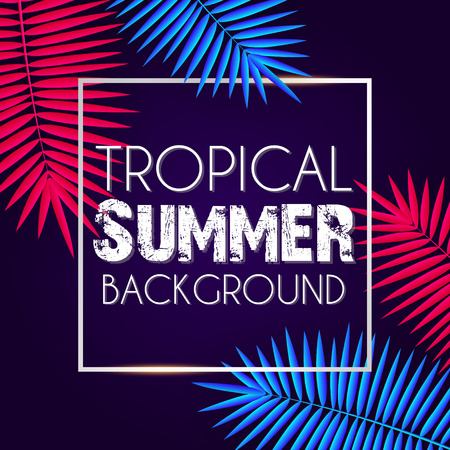 Tropical summer background with exotic neon bright colorful leaves with text space