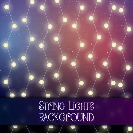 Dark background with decorative string lights. Bright shining light bulbs garlands 版權商用圖片 - 114806870