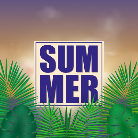Tropical summer background with exotic green bright leaves with text space