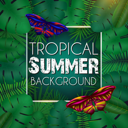 Tropical summer background with exotic green bright leaves with text space and butterflies