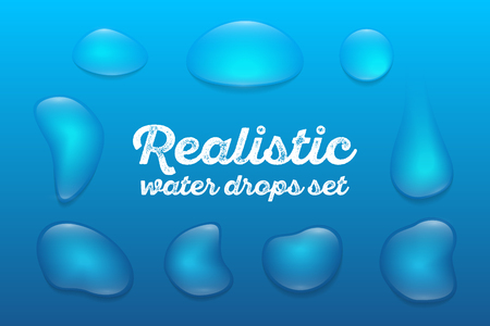 Realistic transparent water drops set on blue background. Vector illustration Çizim