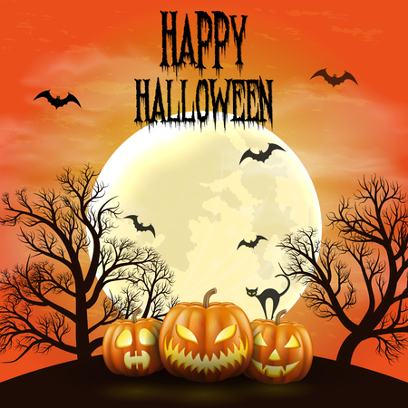 Happy Halloween night background with realistic scary pumpkins and moon. Stok Fotoğraf - 109879646
