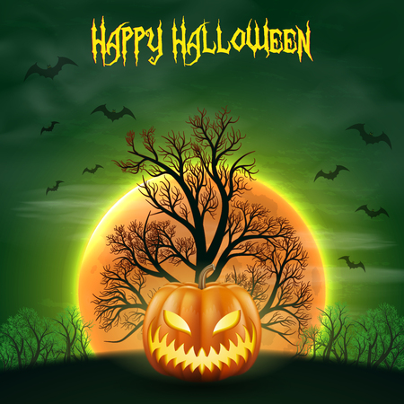 Happy Halloween night background with realistic scary pumpkins and moon. Stok Fotoğraf - 109879648