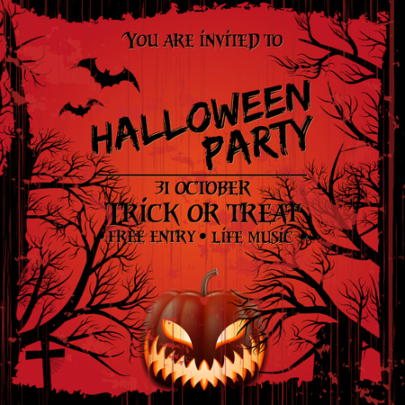 Halloween party invitation poster template with scary pumpkin, graveyard and place for text. Grunge style.