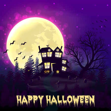 Happy Halloween night background with haunted scary house and full moon. Çizim