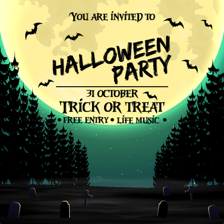 Halloween party invitation poster template with dark forest, graveyard and place for text
