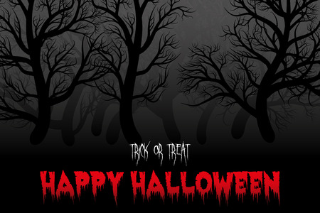 Happy Halloween night background with forest silhouette. Çizim