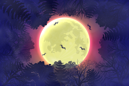 Happy Halloween night background with moonlight and forest silhouette Çizim