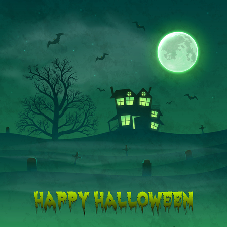 Happy Halloween night background with haunted scary house and full moon. 版權商用圖片 - 109879655