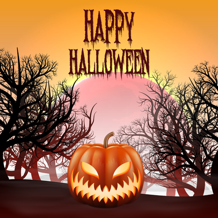 Happy Halloween background with realistic pimpkin. Çizim