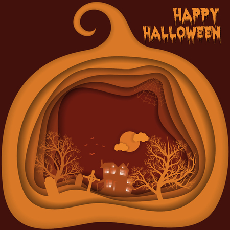 Halloween night background with pumpkin, hounted house and moon. Paper art, carving style. Flyer or invitation template. 向量圖像