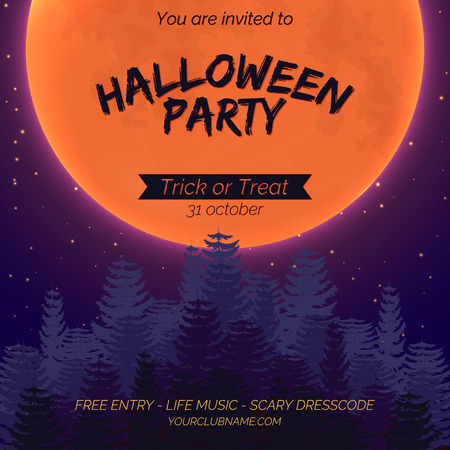 Halloween party invitation poster template with dark forest, full moon and place for text. Stok Fotoğraf - 108438208