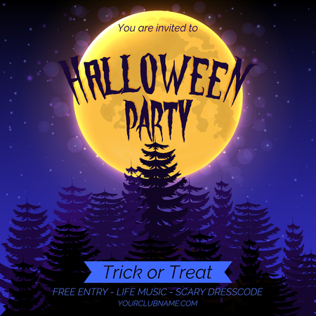 Halloween party invitation poster template with dark forest, full moon and place for text.