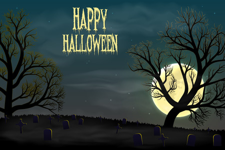 Happy Halloween background with graveyard, trees and moon.
