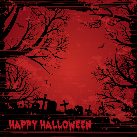 Happy Halloween night background with bloody red sky. Grunge style.