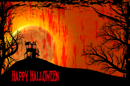 Happy Halloween night background with haunted scary house and full moon. Grunge style.