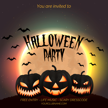 Halloween party poster, flyer template with dark pumpkins and moon background with place for text.