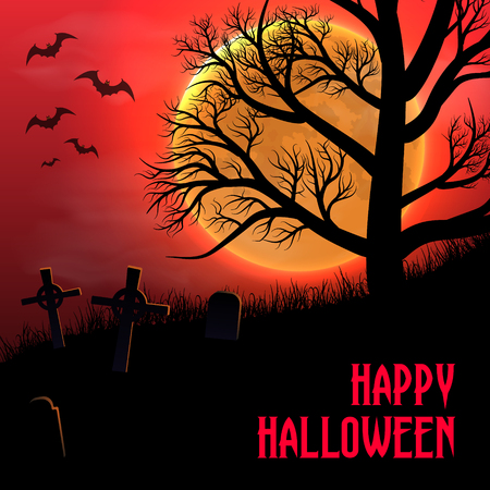Happy Halloween background with graveyard, trees and moon