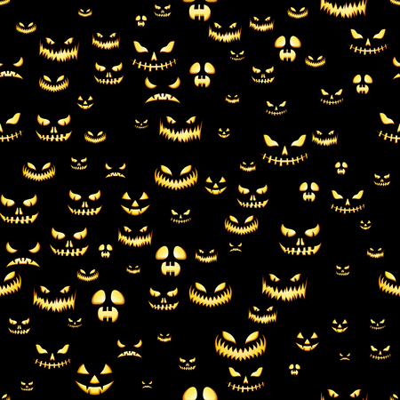 Seamless pattern with Halloween pumpkins carved faces silhouettes on black background 版權商用圖片 - 109879667