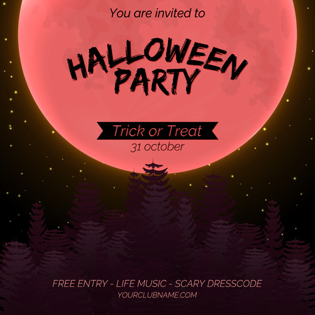 Halloween party invitation poster template with dark forest, full moon and place for text. Stok Fotoğraf - 109203211