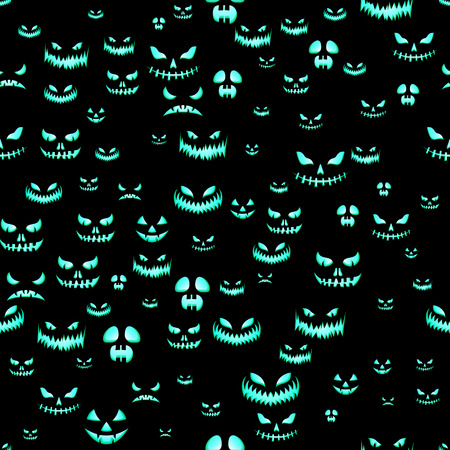 Seamless pattern with Halloween pumpkins carved faces silhouettes on black background