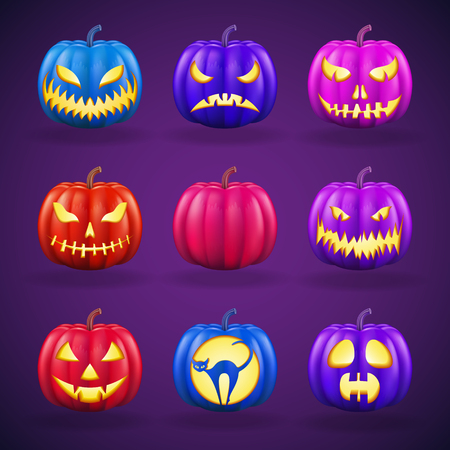 Halloween pumpkins set with different faces. Realistic detailed illustration