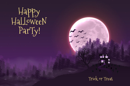 Happy Halloween night background with haunted scary house and full moon. Stock Illustratie
