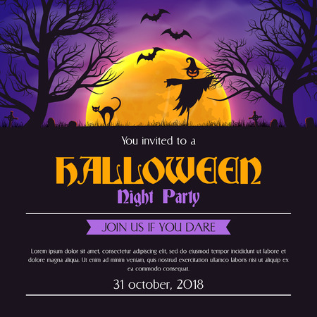 Halloween party invitation poster template scary silhouettes and place for text. Çizim