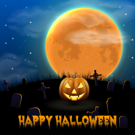 Happy Halloween night background with scary old graveyard and pumpkin Çizim