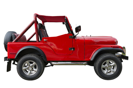 off path: Old red off-road car isolated over white background