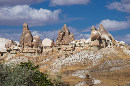the crags: Beautiful crags in Cappadocia, a historical region in Central Anatolia in Turkey Stock Photo