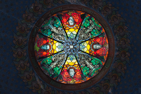 Beautiful stained glass skylightin in a church photo