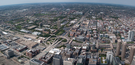 willis: Panoramic view of urban cityscape from Willis Tower in Chicago